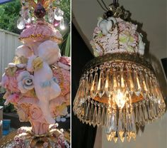 1LG-Porcelain-Capodimonte-Cherub-Beaded-Rose-SWAG-Brass-chandelier-vintage-lamp
