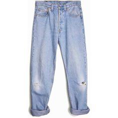 Vintage Distressed Levi's 501 Denim Boyfriend Jeans waist 29 ($64) ❤ liked on Polyvore featuring jeans, pants, bottoms, trousers, distressed boyfriend jeans, ripped jeans, torn boyfriend jeans, levi jeans and destructed boyfriend jeans