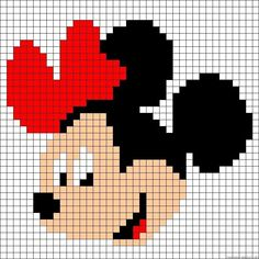 """Minnie Mouse perler bead pattern - Crochet / knit / stitch charts and graphs [ """"quick and simple for cards - add sparkle"""", """"Learn to make your own colorful bracelets of threads or yarn. As fun for beginners as it is to intermedates. Knitting Charts, Knitting Stitches, Baby Knitting, Embroidery Stitches, Embroidery Patterns, Knitting Patterns, Crochet Patterns, Crochet Ideas, Simple Embroidery"""