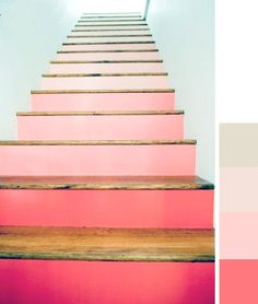 ombre stairs on design sponge. Thanks Mom! Color Inspiration, Interior Inspiration, Living Colors, Deco Rose, Painted Stairs, Painted Floorboards, Painted Staircases, Spiral Staircases, Stairway To Heaven