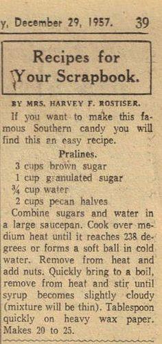 Pralines - 1957 Recipe