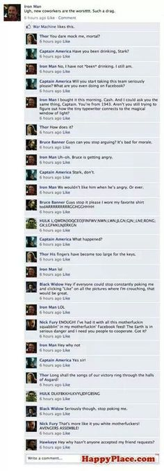 If the avenger's had Facebook