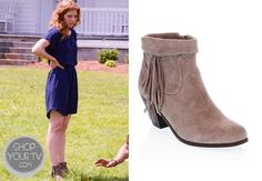 Julia Shumway (Rachelle Lefevre) wears these tan suede boots with fringe detail in this week's episode of Under the Dome.
