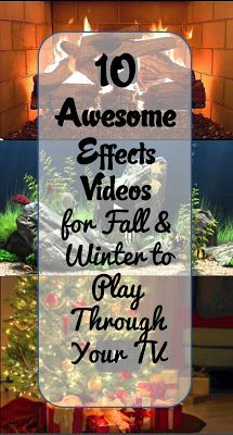 10 FREE Awesome Effects Videos for Fall and Winter you can play through your TV! From a crackling fireplace and sea turtle-filled ocean to a 3-hour Christmas song medley and New Year's Eve countdown for your holiday parties! These videos are sure to get you through the cold fall and winter months! {BitznGiggles.com}  #videos, #holidays, #Halloween, #Christmas, #NewYears