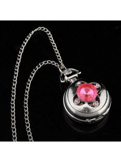 Crystal Flower Pocket Watch Pendant