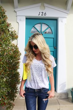 Spring and summer outfit-pop of color-clutch-A Touch of Pink Blog