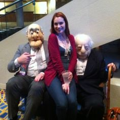 Felicia Day with Statler and Waldorf