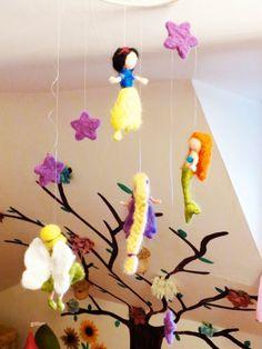 Disney Princess Mobile Baby Nursery. Waldorf style Needle Felted.