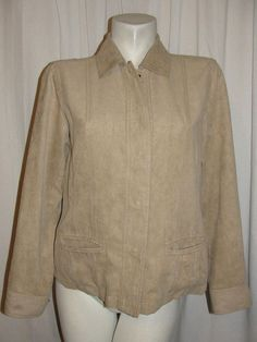 Chicos Women's Light Brown Textured Sueded Polyester Long Sleeve Jacket Size 1 M #Chicos #BasicJacket #WorkCasual