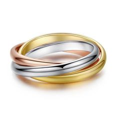 R028 Classic 3 Rounds Ring Sets For Women Rose Gold Silver Plated Wedding Engagement Female Finger Jewelry Adjustable