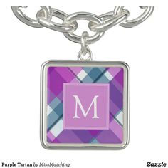 Purple Tartan Charm Bracelets