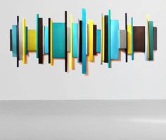 modern geometric abstract painted wood wall by RosemaryPierceArt