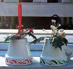 Flower Pot Crafts - Flower Pot Christmas Bells(how to's for angels, Santas, and gingerbread man Clay Pot Projects, Christmas Craft Projects, Christmas Clay, Clay Pot Crafts, Christmas Bells, Simple Christmas, Holiday Crafts, Christmas Ornaments, Nutcracker Christmas