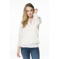 Sheer ivory blouse with crossed front
