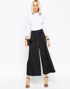 ASOS High Waisted Satin Culottes With Button Detail