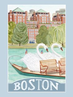 A view of Beacon Street from Bostons Public Garden, looking past the citys iconic swan boats.  12 x 16 or 8 x 10 print of an original illustration Printed in-house on acid-free paper with pigment inks
