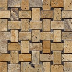 1 x 2 Scabos Tumbled Finish Basketweave Pattern Mesh-Mounted Travertine Mosaic Tile with Black Marble Dot Inserts Calacatta Gold Marble, Marble Mosaic, Mosaic Tiles, Mosaics, Marble Floor, Mosaic Art, Wall Tiles, Tile Floor, Molding Ceiling