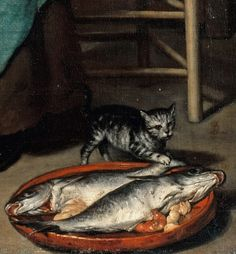 Gabriel Metsu - The cook. I Love Cats, Crazy Cats, Gabriel Metsu, Kitsch, Fish Tales, Dutch Golden Age, 17th Century Art, Classic Paintings, Dutch Painters