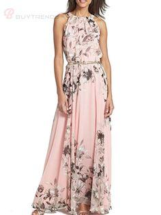 Bohemian Sleeveless Halter Neck Long Printed Beach Plus Size Dress Summer Maxi Dresses