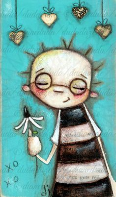"""Original Quirky Folk Art Mixed Media Painting on Wood """"Crushin'"""" by DUDADAZE, $22.00 Revised, re-listed, and slightly reduced. :) ©dianeduda/dudadaze"""
