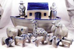 David Eldreth Noah's Ark Art Pottery Salt Glaze 2 People Animals Figural Scarce