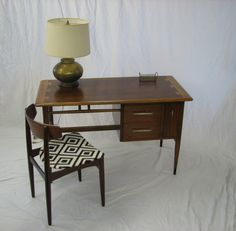 mid century modern lane desk walnut dovetail by grestuff on etsy