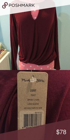 """Burgundy Keyhole Top Burgundy """"Pinot keyhole Top from Michael Stars size OS  never worn with tags Michael Stars Tops Tees - Long Sleeve 82c18d3d6ae48"""