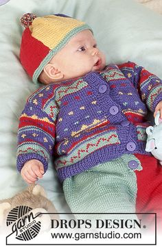 "DROPS jacket with pattern in ""BabyMerino"". Knitting For Kids, Baby Knitting Patterns, Knitting Stitches, Free Knitting, Drops Design, Crochet Baby Sweaters, Knit Crochet, Baby Cardigan, Cardigan Pattern"