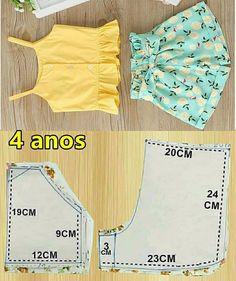 Kids Dress Patterns, Baby Clothes Patterns, Clothing Patterns, Sewing Baby Clothes, Baby Sewing, Diy Clothes, Kids Frocks Design, Baby Frocks Designs, Como Fazer Short