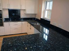 Black Pearl Granite Countertops With White Cabinets - Kitchen is an important location wherever your special someone spends Kitchen Room Design, Modern Kitchen Design, Interior Design Kitchen, Kitchen Ideas, Granite Tile Countertops, Clean Granite, Black Quartz Countertops, Dark Granite, Black Kitchen Countertops