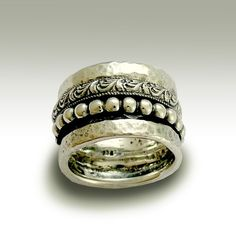 Sterling silver woodland band with detailed vine by artisanlook, $170.00
