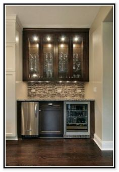 Dry bar w glass front mini fridge mirrored subway tiles for Home dry bar furniture