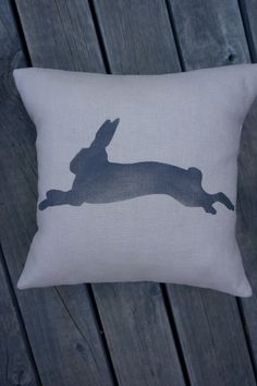 """NEW!  Handmade + individually hand painted by Claire Webber, Hobart, Tasmania.  36cm """"Run, Rabbit, Run!"""" 100% natural  linen.  For more info email: webberclaire1@gmail.com"""