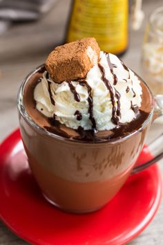 Spiked Hazelnut Hot Chocolate from The Girl In The Little Red Kitchen ...