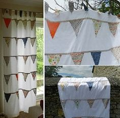 Bunting Tab Top Curtains tutorial, working out fabric requirements, making tab tops and sewing together all covered.