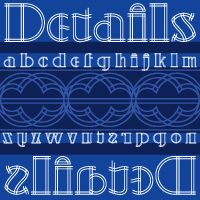 Details Details NF    Another gem from the Blandford Press Pen and Brush Lettering and Practical Alphabets, this in-your-face typeface features strong geometric elements, delineated in blueprint fashion.    A surefire attention-getter.    Both versions of the font include the 1252 Latin and 1250 CE character sets (with localization for Romanian and Moldovan).