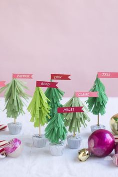 Crepe-paper Christmas trees (on peanut butter cup bases!) are guaranteed to put smiles on your dinner guests' faces.