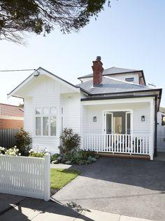Pergola Attached To House Plans Product Cottage Exterior, House Paint Exterior, Exterior House Colors, Dulux Exterior Paint Colours, Bungalow Exterior, Gutter Colors, Weatherboard House, Queenslander, Roof Colors