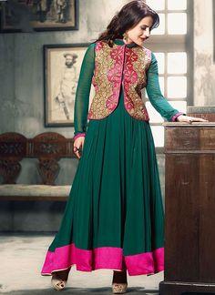 Amisha Patel Teal Georgette Anarkali Suit