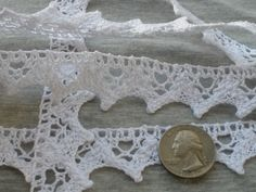 5 Yard Lot Half Inch Stretch Cluny Lace Trim Ivory Scalloped