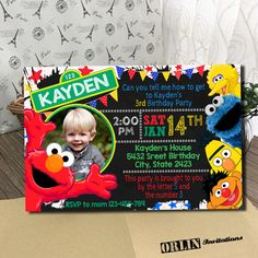 Sesame Street Invitation, Sesame Street Birthday Invitation, Sesame Street, Sesame Street Birthday Card, Sesame Street invites, Sesame by ORLINinvitations on Etsy https://www.etsy.com/listing/504804597/sesame-street-invitation-sesame-street