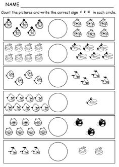 Comparing Numbers Picture Math: Angry Birds Greater than, Less Than. Equal Worksheet