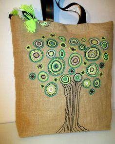 0624998b07 Green tree hand embroidered jute tote elegant bag with leather straps
