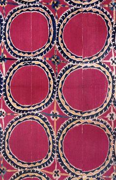 Tashkent embroidered Suzani, silk on cotton. Late 19th century.
