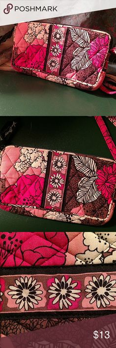 """Vera Bradley Small Wristlet This wristlet is great to carry around small items like glasses, cards, bills, and a smartphone! The quilted fabric gives the playful color a more mature look. Perfect for going out both day and night!   Dimensions: 7.25"""" X 4"""" X 1"""" Vera Bradley Accessories Belts"""