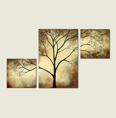 Tree Painting Sepia Cream, 42 x 24, Acrylic Large Custom Wall Art on Etsy, $295.00