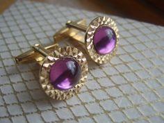 Vintage Goldtone Cufflinks with Purple Glass Central Stone, Round Cuff Links via Etsy