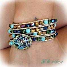 Gypsy Wrap Bracelet Beaded, Colorful Boho Four Wrap Bracelet Handmade by MSwithlove on Etsy