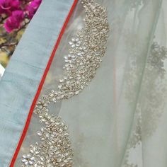 nikasha_official: Our antique jade organza saree is a stunner for this wedding season! Coming soon at our store - The Kila Seven Style Mile Mehrauli New Delhi - 110030 Pakistani Dress Design, Pakistani Dresses, Indian Sarees, Indian Attire, Indian Outfits, Embroidery Dress, Hand Embroidery, Peach Saree, Pure Georgette Sarees