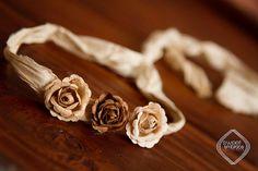 Triple flower Headband, tie back photo prop, feather headband, boho, vintage flower headband (23)